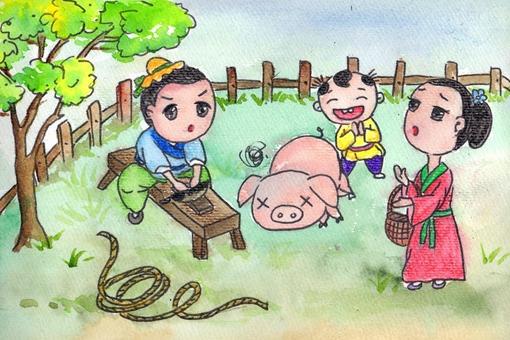 曾子杀猪猪简要故事(含100字150字200字)