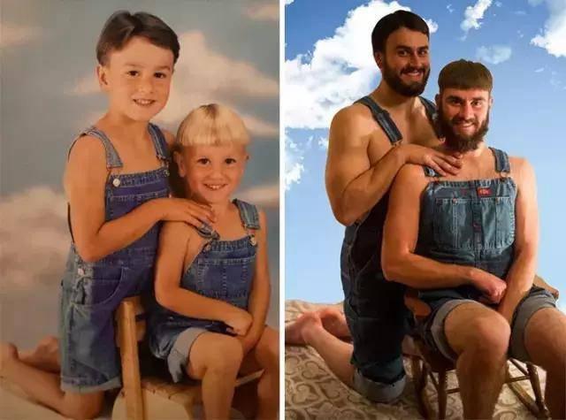 翻拍童年照 现在与过去的对比