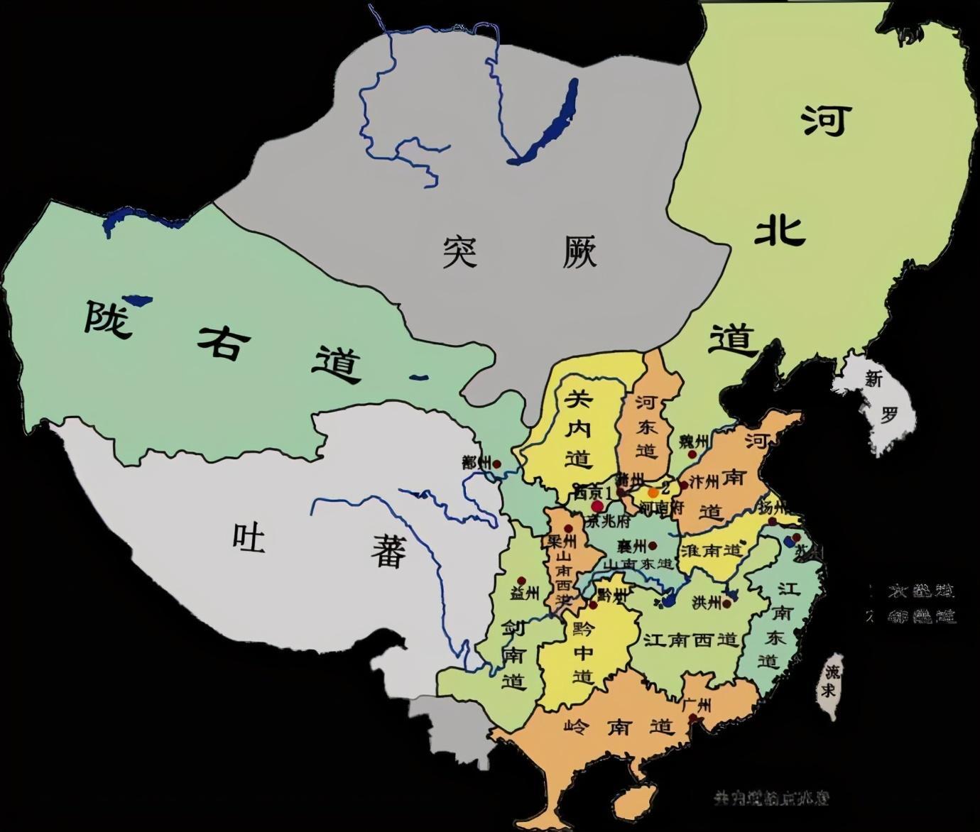 唐朝十五道地图 唐朝十五