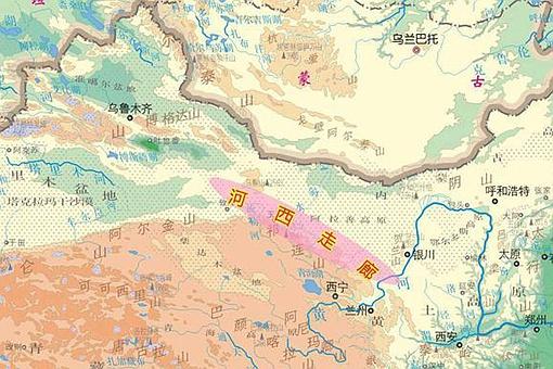 河西走廊地形图 河西走廊详细地形图